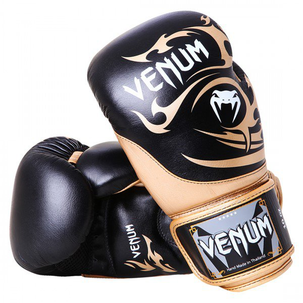 Перчатки боксерские Venum Tribal Boxing Gloves - Black/Gold - Nappa leather 10033