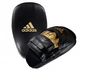 Лапы Adidas Training Curved Focus Mitt Short черно-золотые adiSBAC01